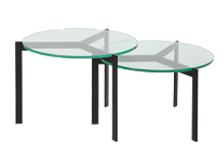 美しいガラス天板のセパレートタイプのテーブル PARM