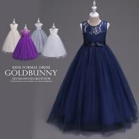 子供ドレス ビジューで飾ったリボンベルトのネットチュールドレス キッズ フォーマル 女の子 120 ...
