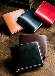 楽天ランキング1位!英国製ブライドルレザーの二つ折り財布★名前刻印無料★